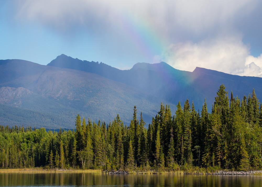 Rainbow over Boya Lake.