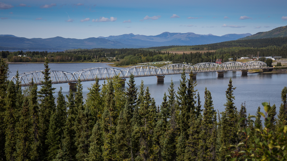 The lengthy bridge at Teslin.