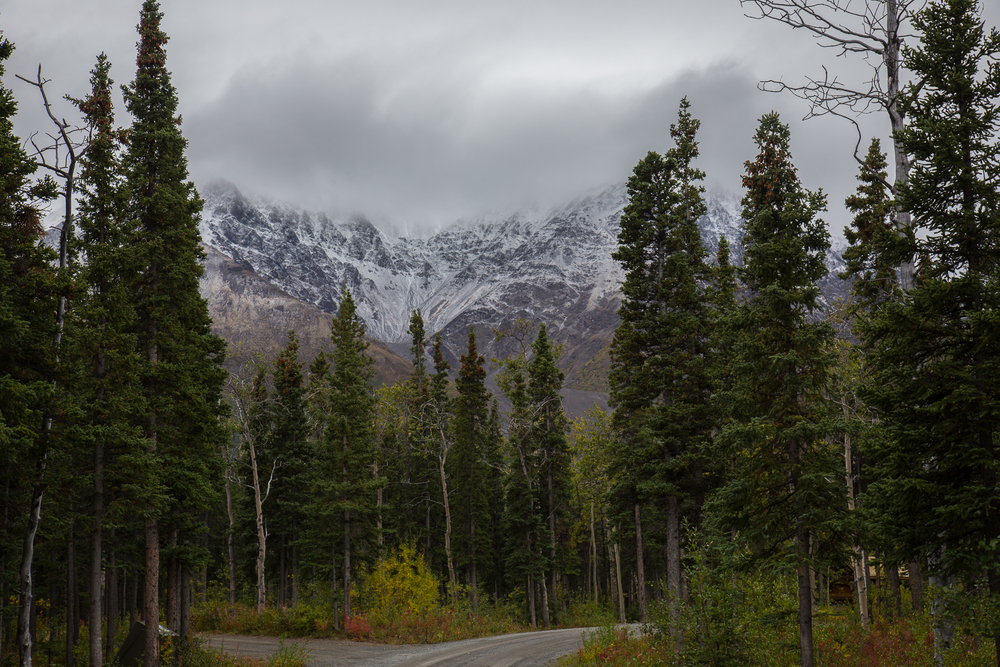 The view of the cloud-shrouded mountains from Kathleen Lake Campground