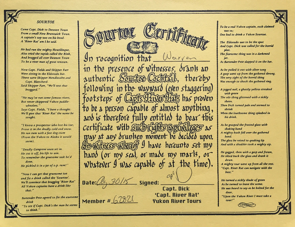 sourtoe certificate