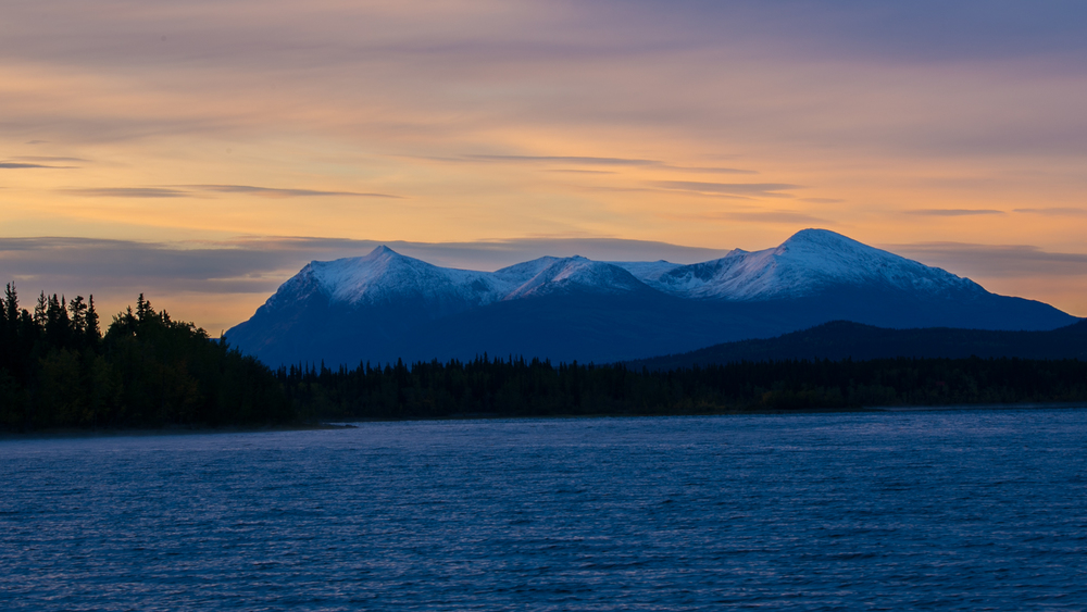 Beautiful sunrise at Teslin Lake.