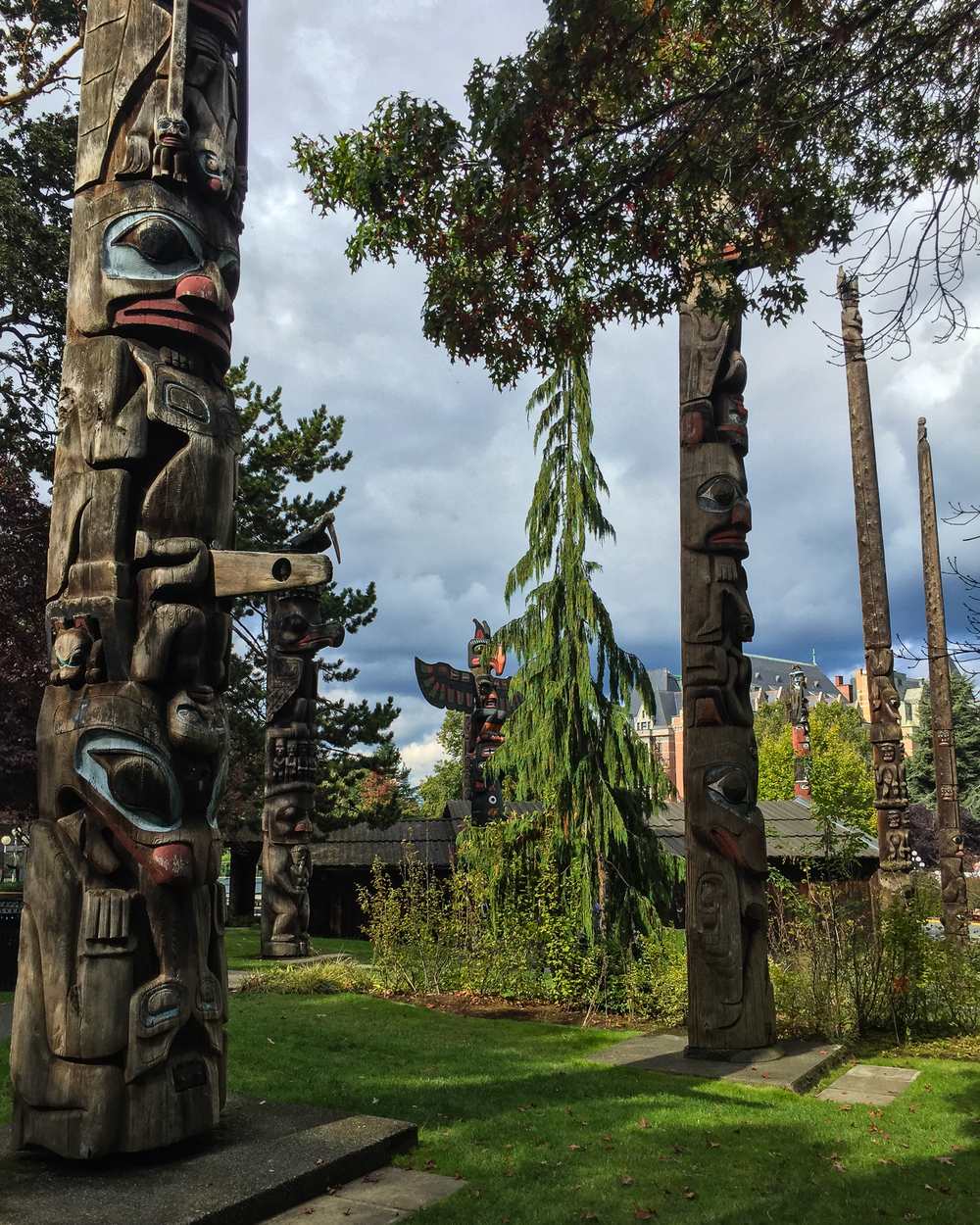 Totem poles outside the Royal Victoria Museum.