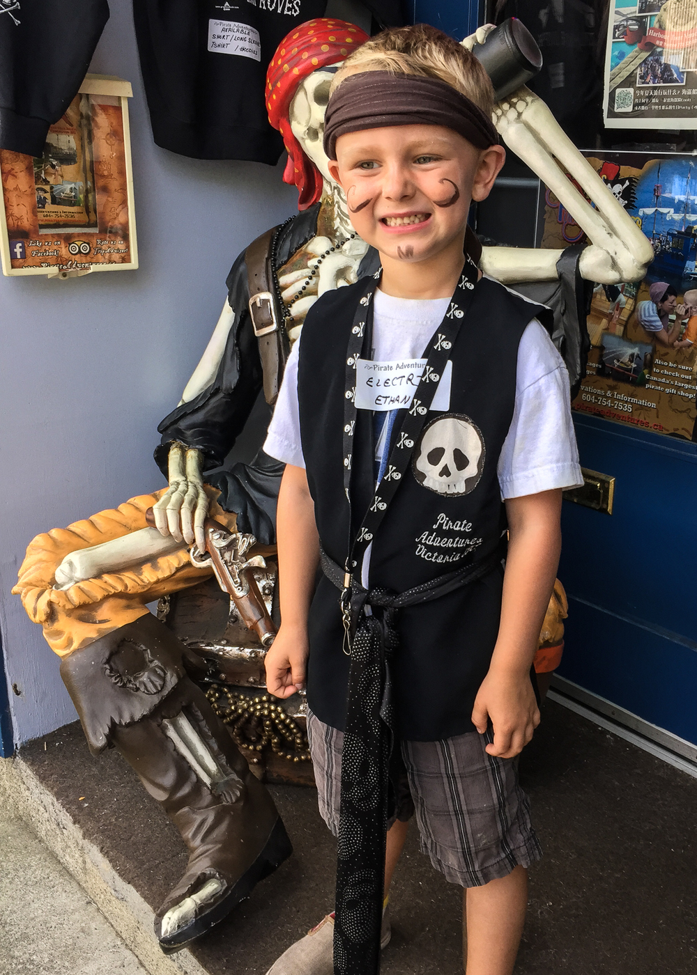 "The it was time to head to the secret pirate lair for the pirates to don their costumes. ""Electric Ethan"" was ready to terrorize the high seas."