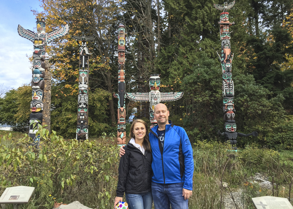 Stephanie and I at the Totem Poles in Stanley Park