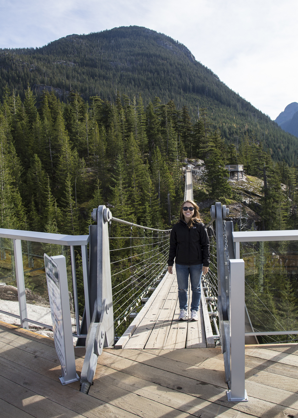 Stephanie on the suspension bridge.