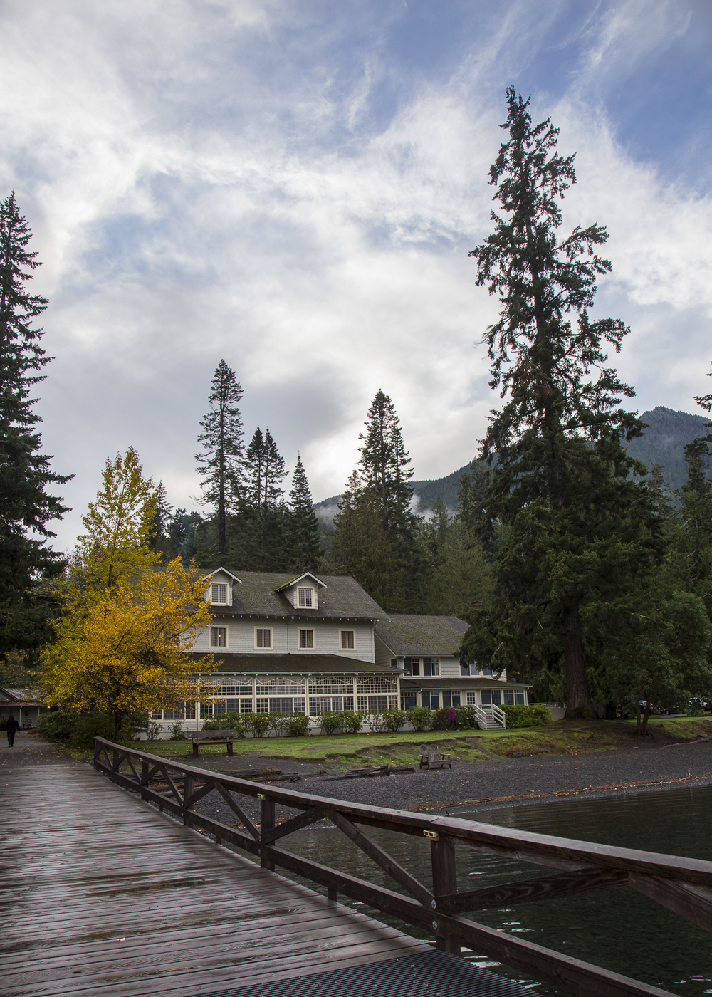 Amazingly, there was some blue sky over Lake Crescent Lodge!