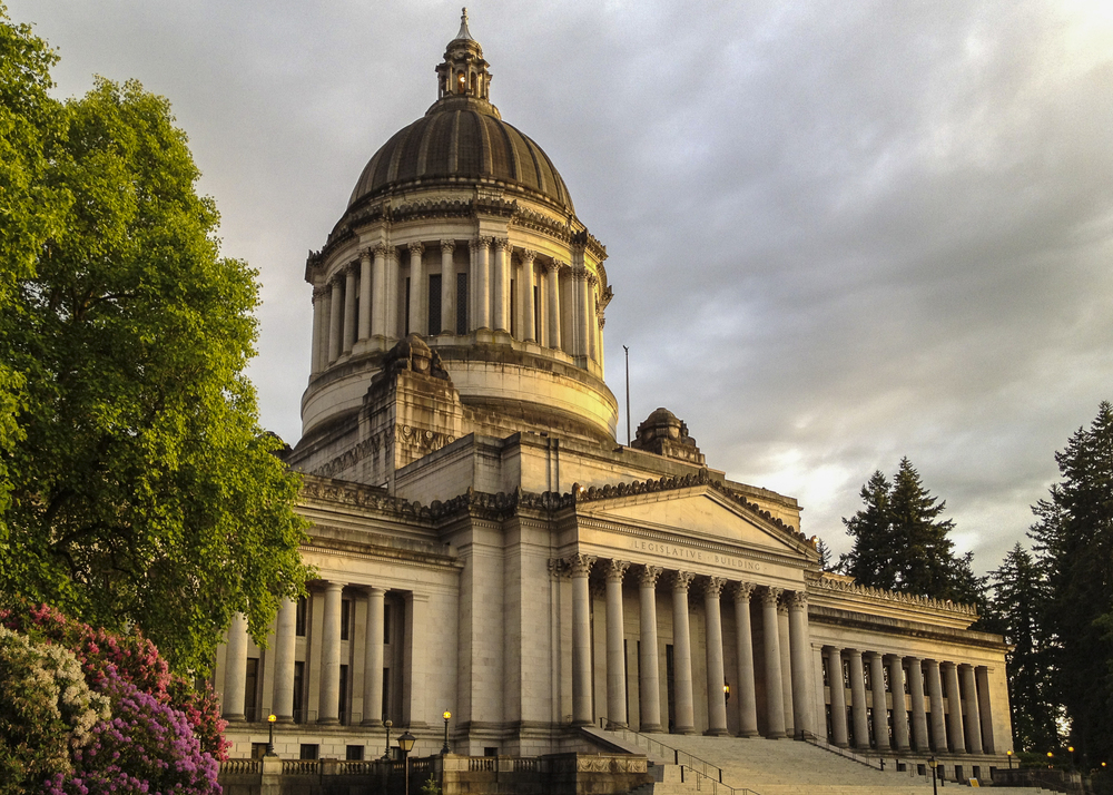 The Washington State Capitol in Olympia, as the sun started to set