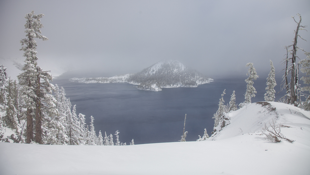 Wizard Island in the crater, at Crater Lake.
