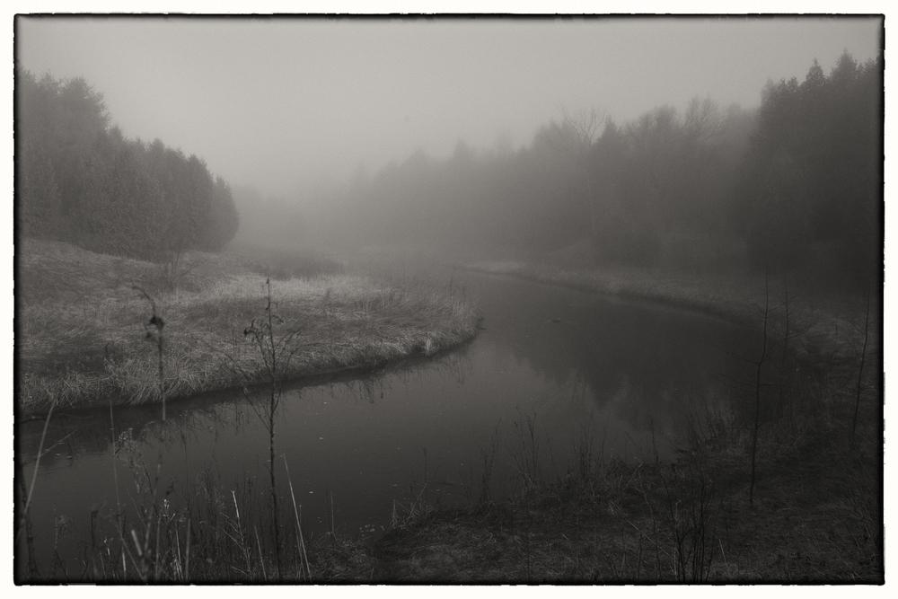 foggy river bw