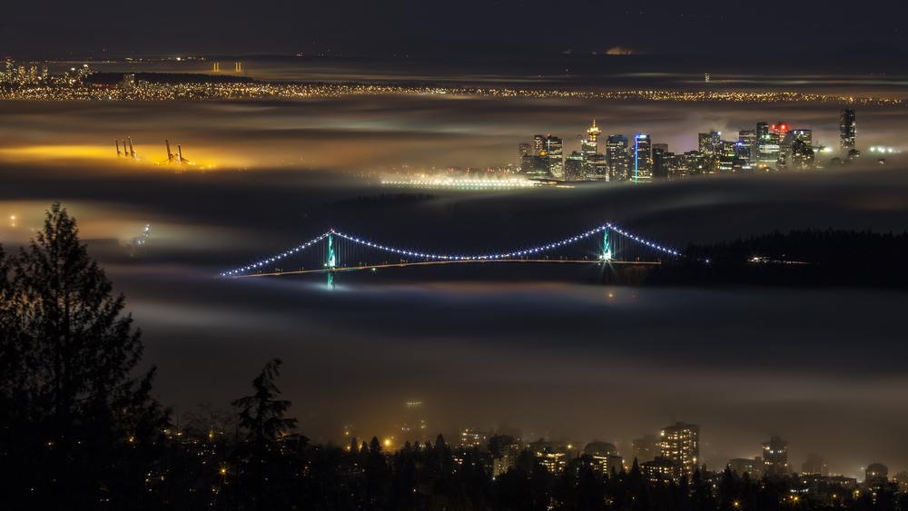 The fog lay heavy over the city.