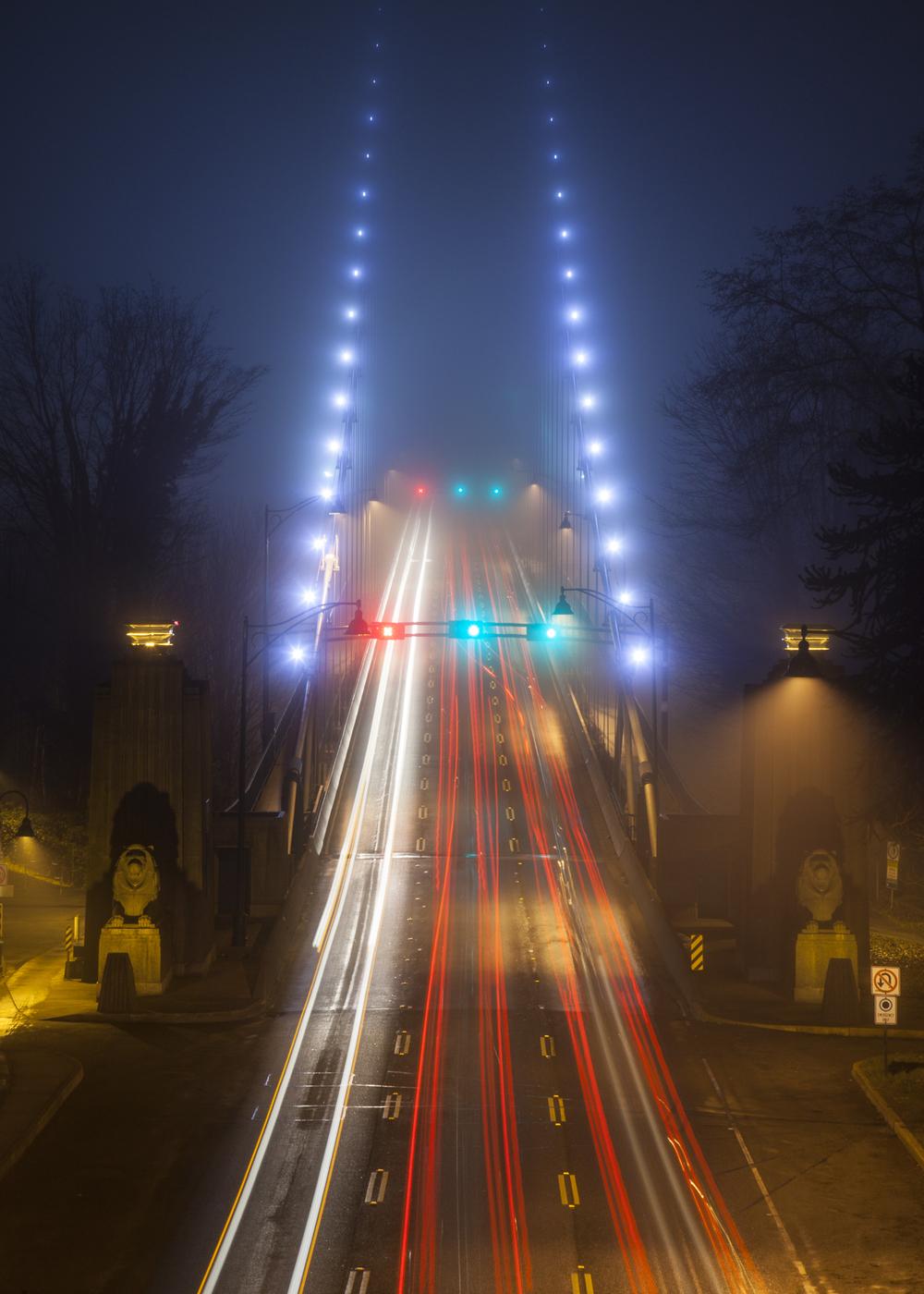 Lion's Gate Bridge in the fog.