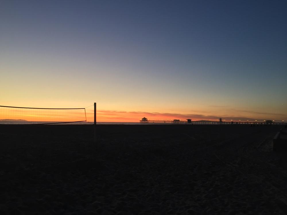 Beach volleyball nets on Huntington Beach