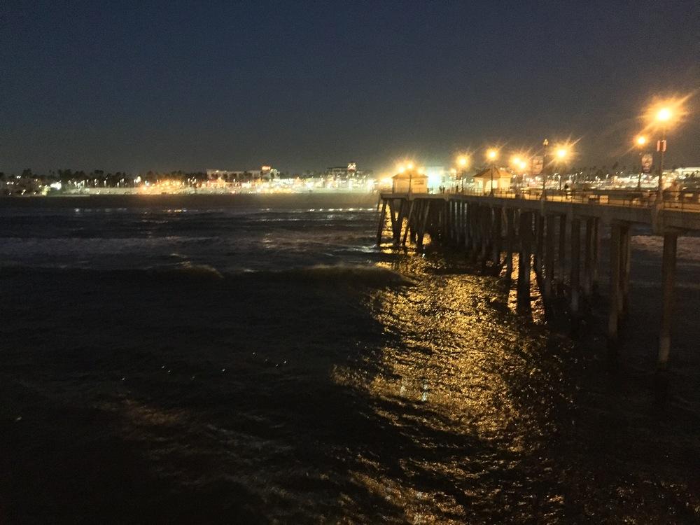 The pier at Huntington Beach at night