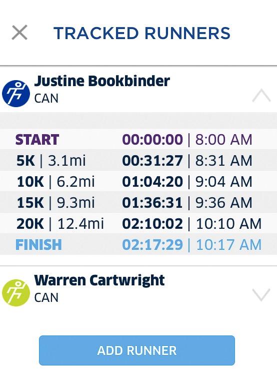 Justine's race splits