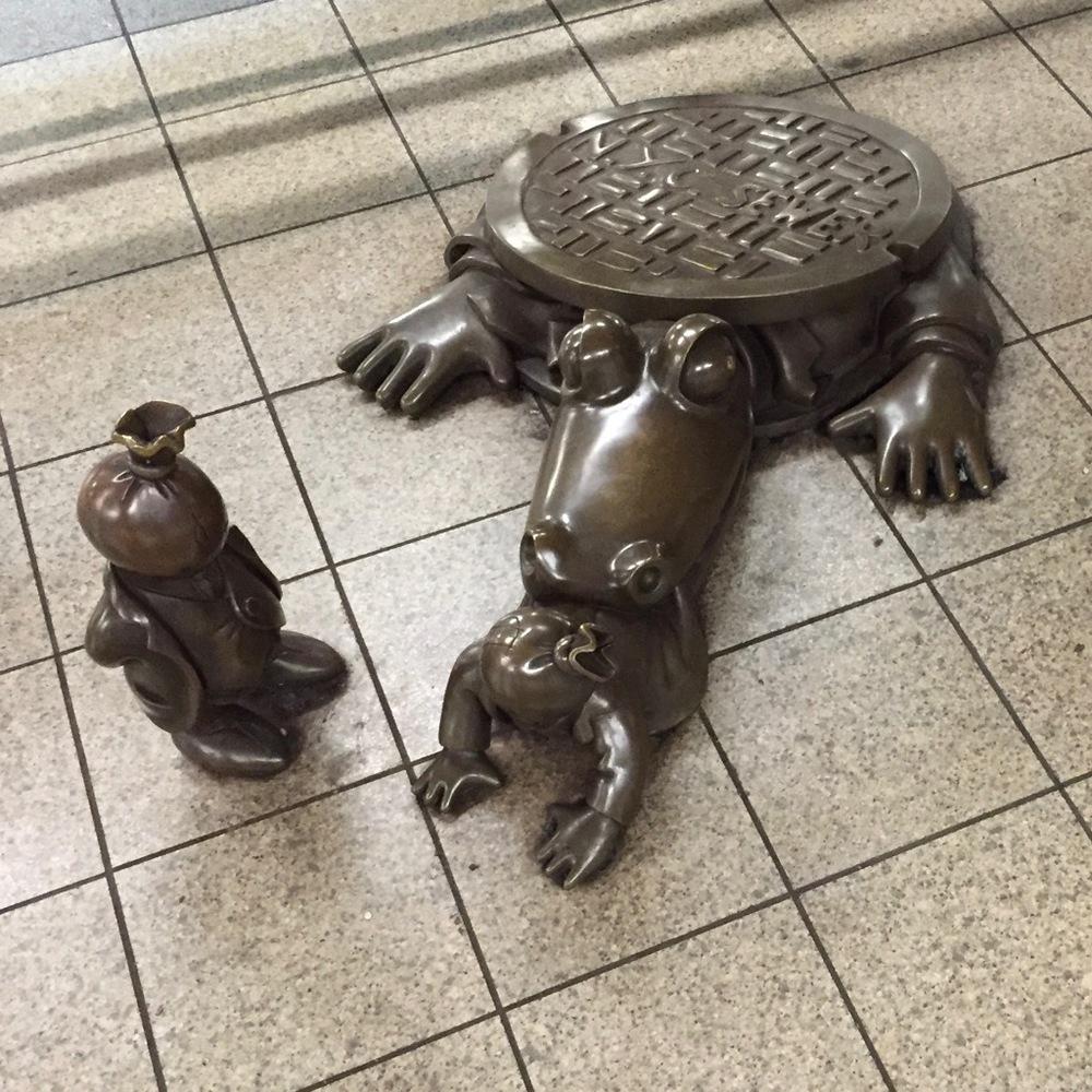 Subway sculptures.