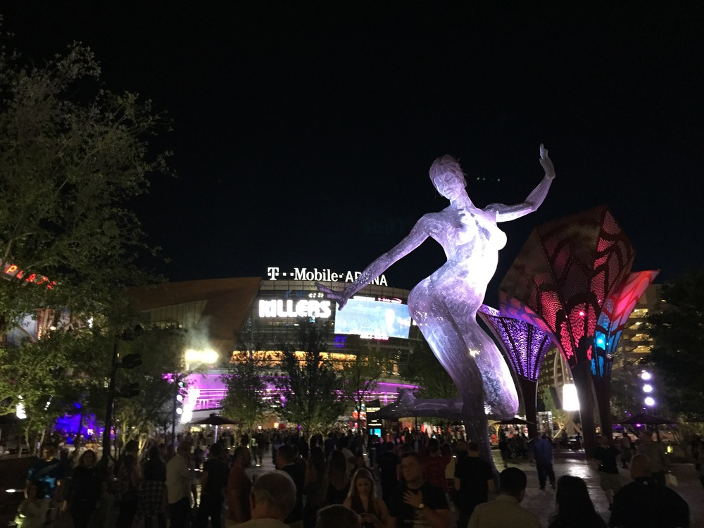 Out front of the new T-Mobile Arena, before the Killer show.