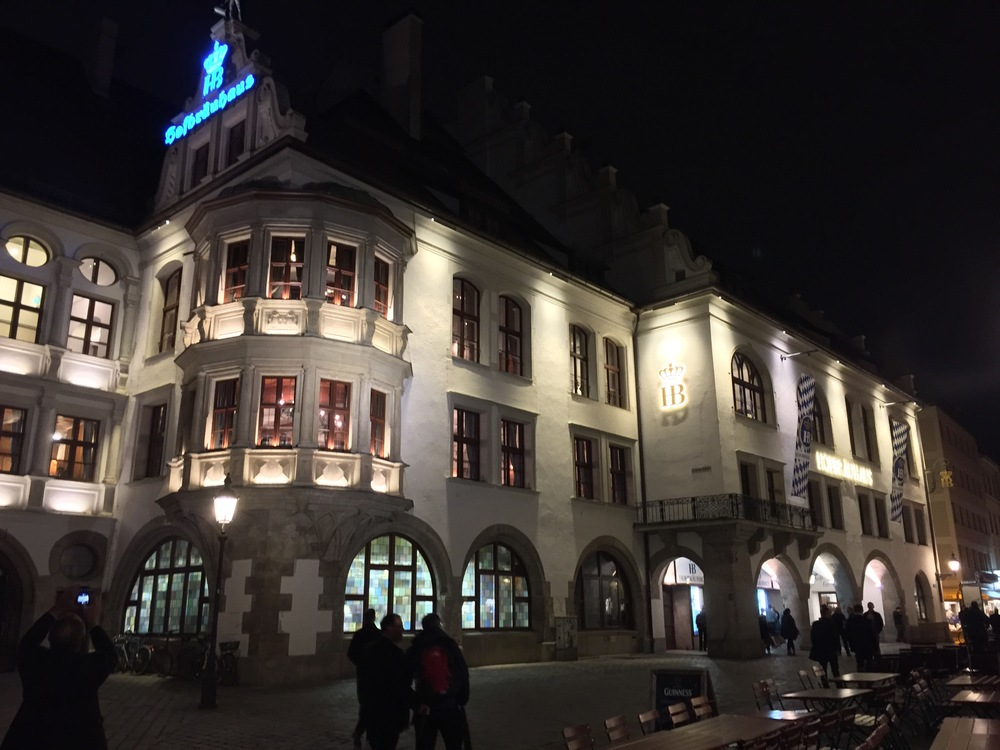 Hofbrauhaus, Munich's biggest beer hall, and a very fun place to spend the evening.