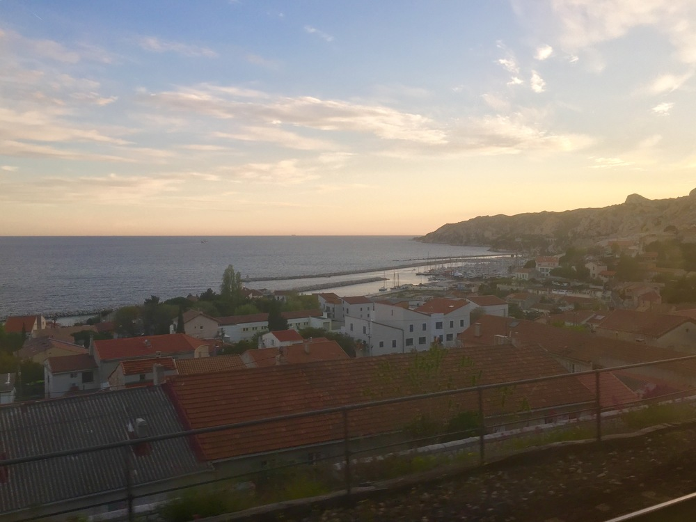 Just outside Marseilles, from the train window as the sun set.