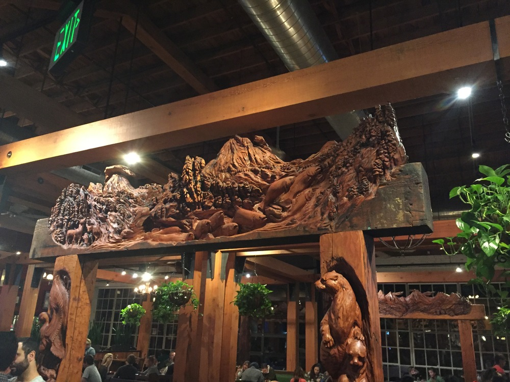 Some of the cool carvings inside the Deschutes brewpub.