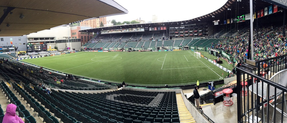 The full view across Providence Park. You could see the Whitecaps supporters already filling in the section in the upper left.