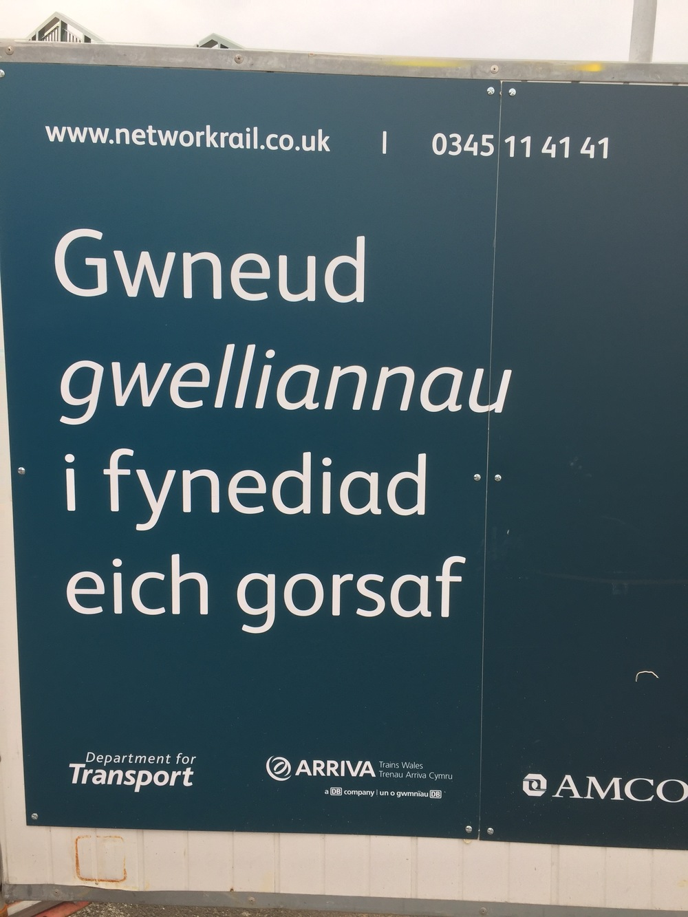 A sign at the train station in Wales. Crazy language!