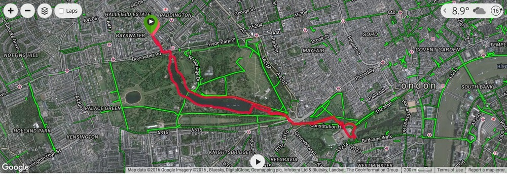 My run in London, through the parks and around Buckingham Palace.