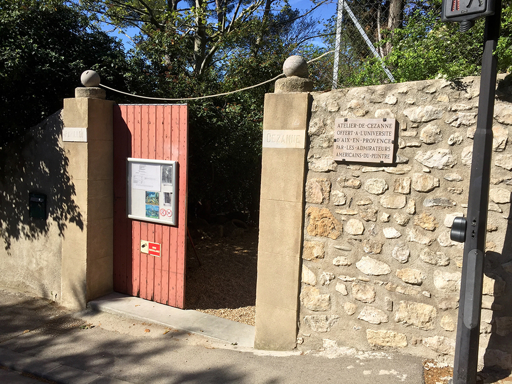 The front gate, heading into Atelier Cezanne