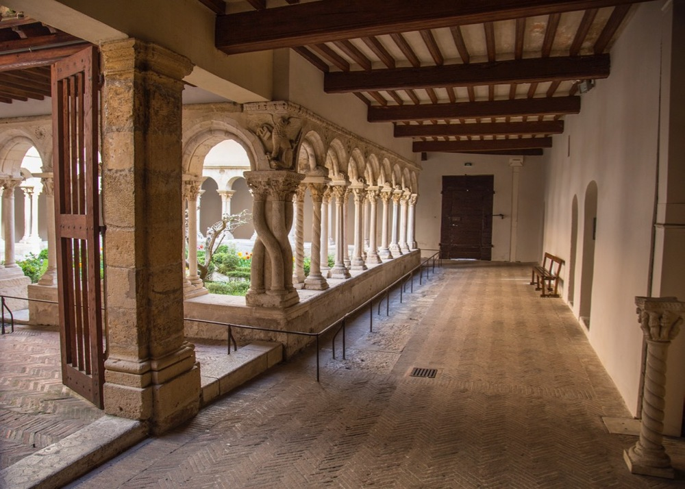 View out to the cloisters.