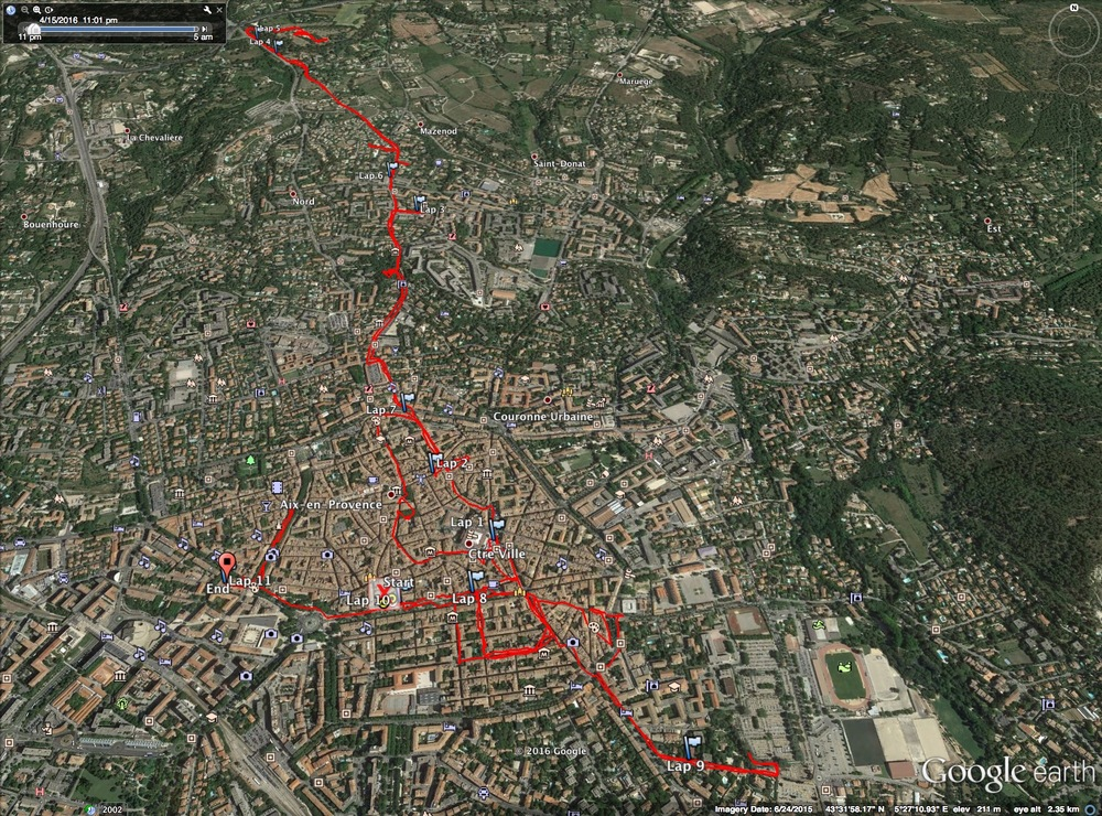 A Google Earth view of my morning walk around Aix. Over the course of the day and a half, I covered over 33 km walking.
