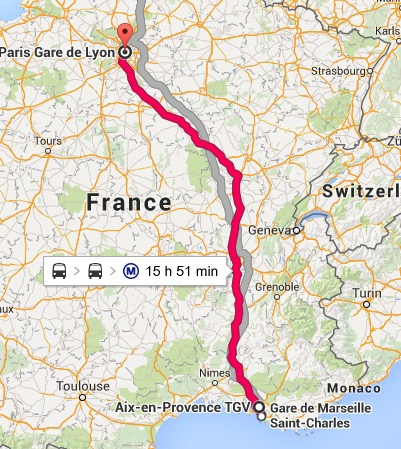 It's a pretty long way from Aix to Paris... but it wasn't 15 hours!