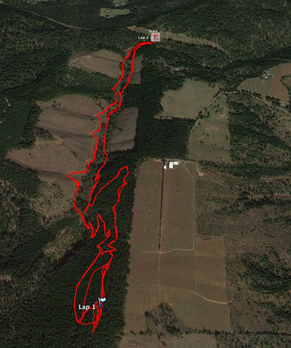 The Google Earth view of our couple of laps at Post Canyon.