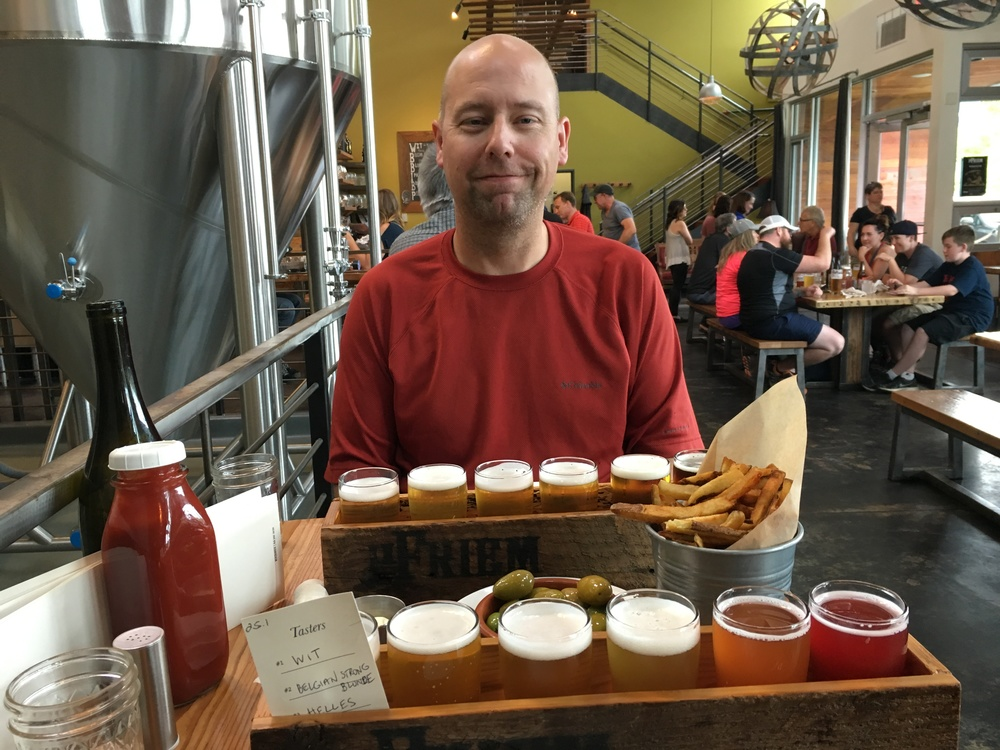 Samplers and snacks at pFriem Brewery