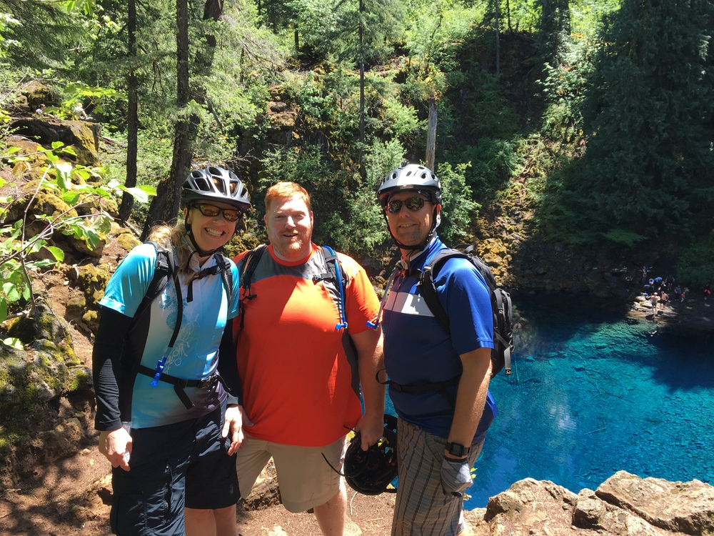 Justine, Graham and I at Tomolich Pool on the McKenzie River Trail.