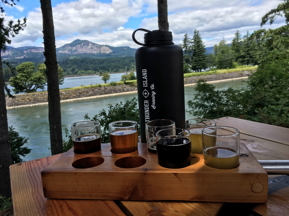 A sampler and some lunch looking out over the Columbia River.