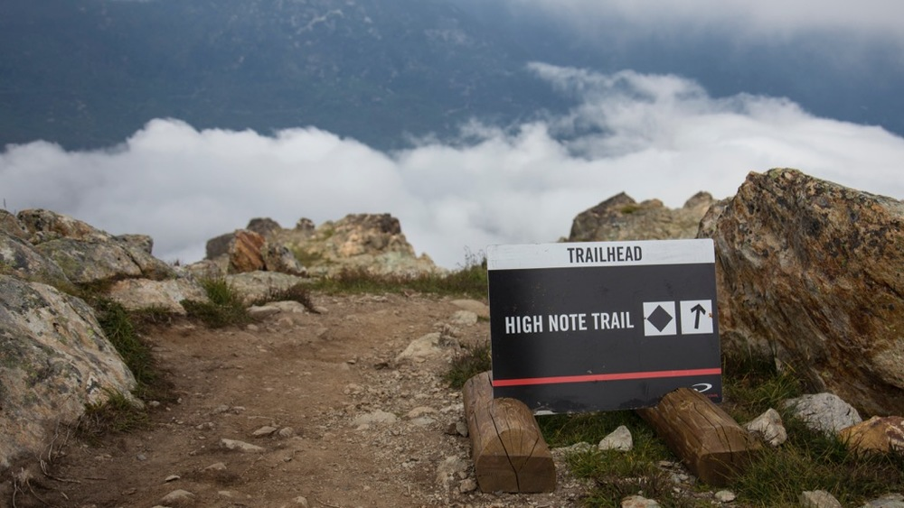 The start of the High Note Trail. As you can see, we were right in the clouds.