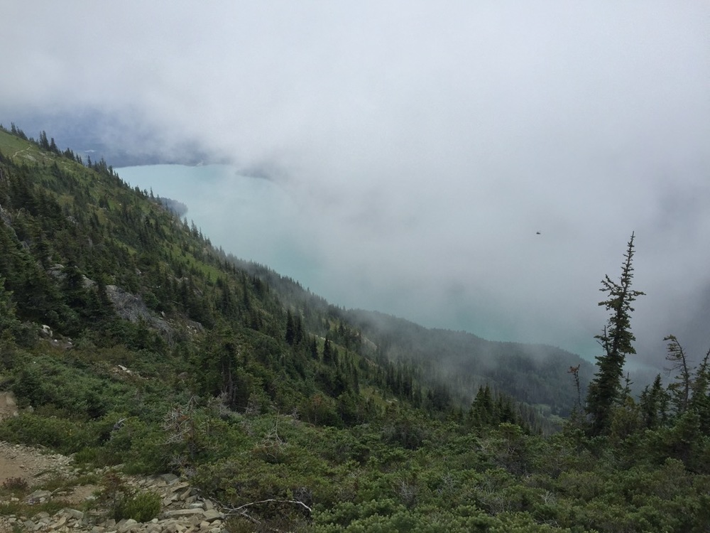 Cheakamus Lake is the highlight of this hike - if you can see it. The clouds came and went over the day.