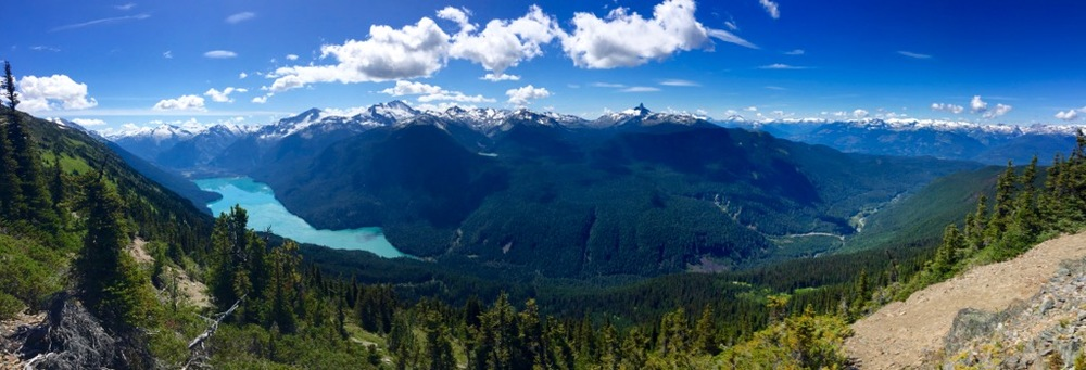 Panoramic view across to Cheakamus Lake and Black Tusk