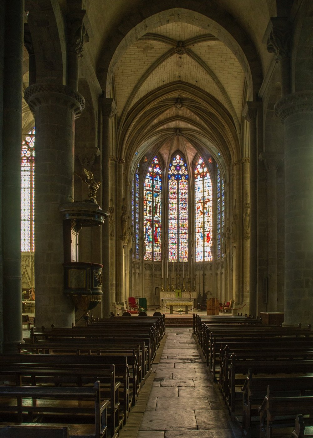 The Basilica of Saint-Nazaire with its amazing stained glass windows.