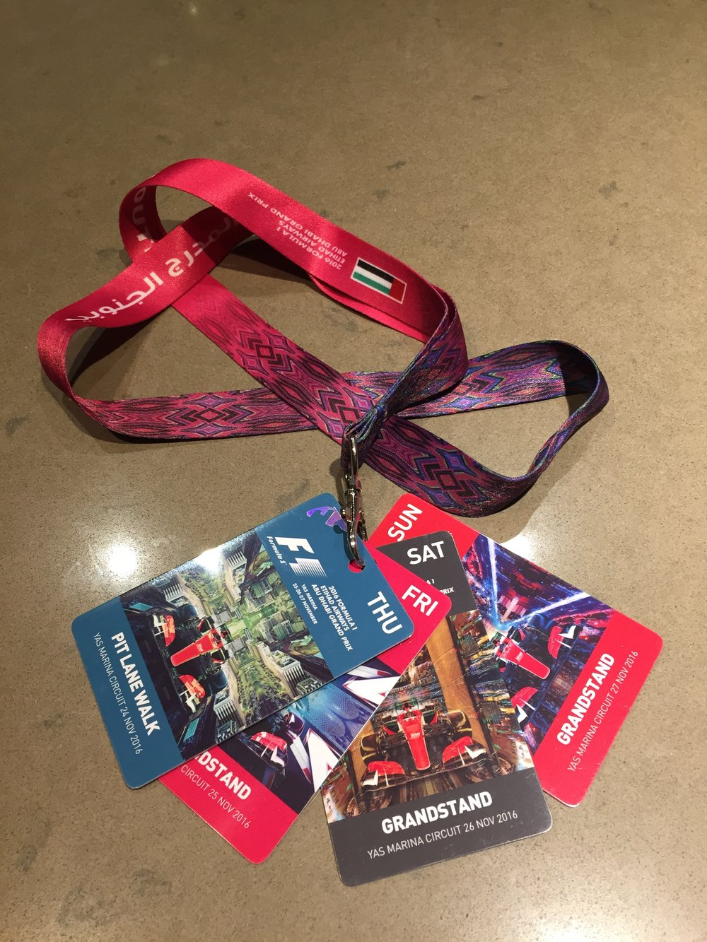 Our tickets for four days at the Abu Dhabi Grand Prix!