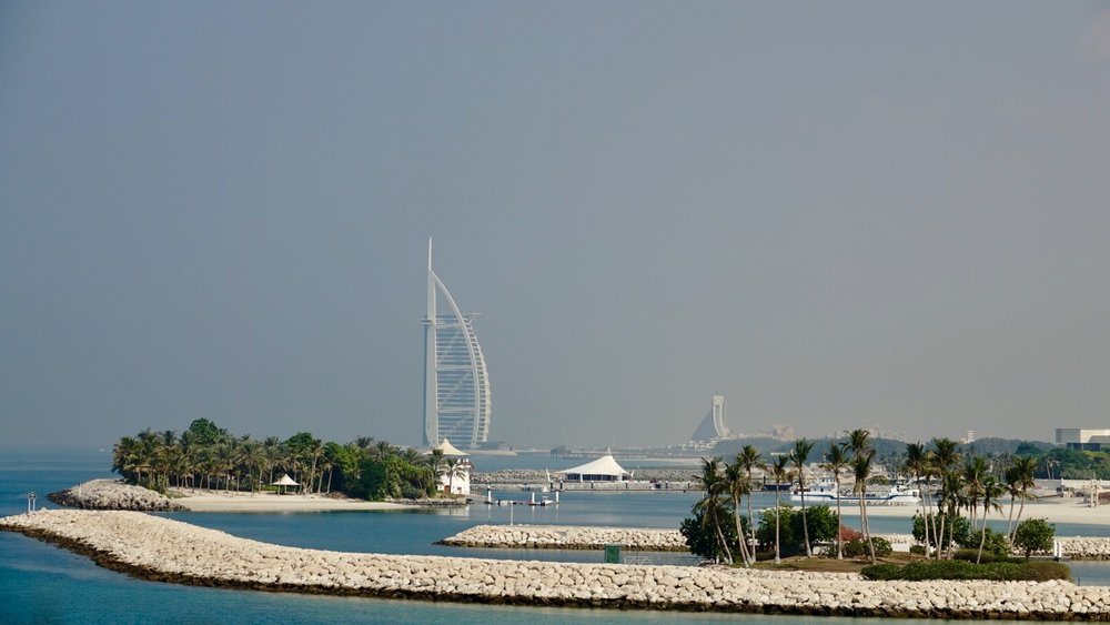 The Burj al-Arab from the road along the Palm.