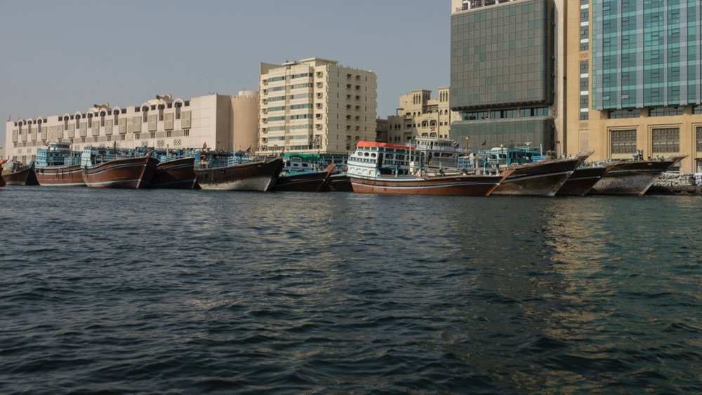 Dhows docked along Dubai Creek.