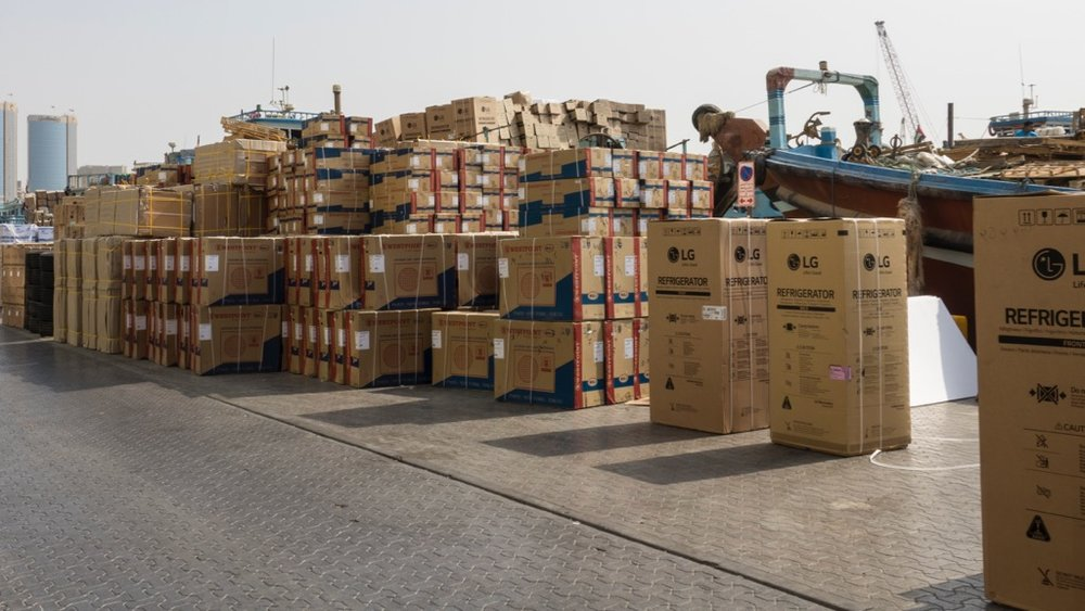 Electronics, ready to be loaded up and shipped around the region on the dhows.