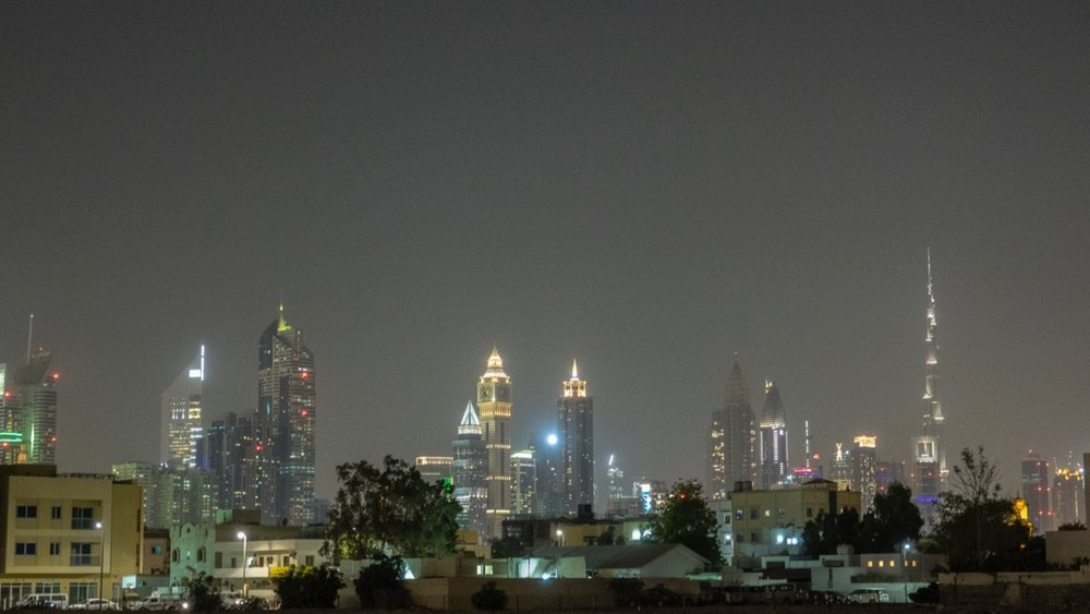 The Dubai skyline from near our hotel.