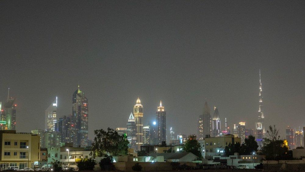 The Dubai skyline from near our hotel.