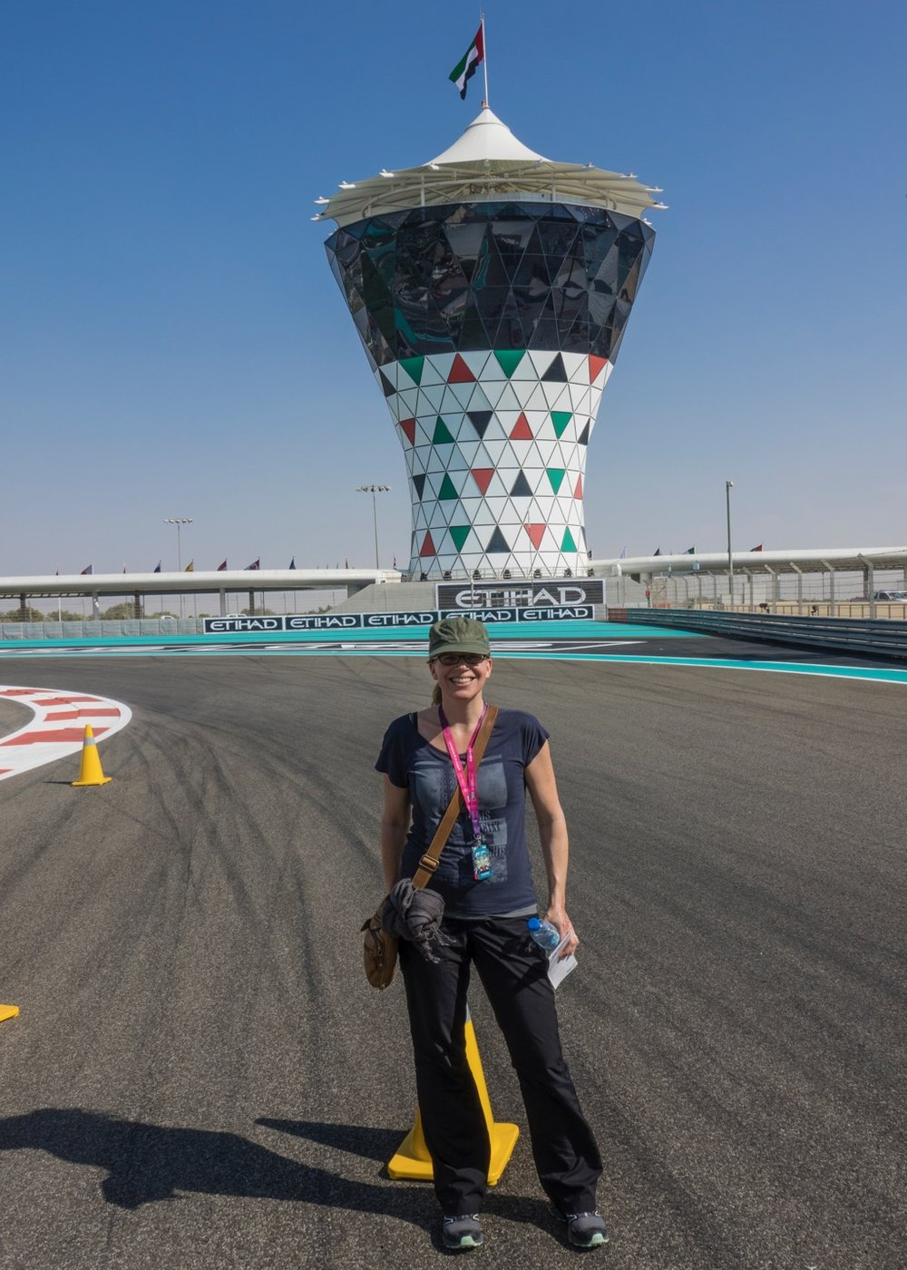 Justine on the track at the Abu Dhabi Grand Prix