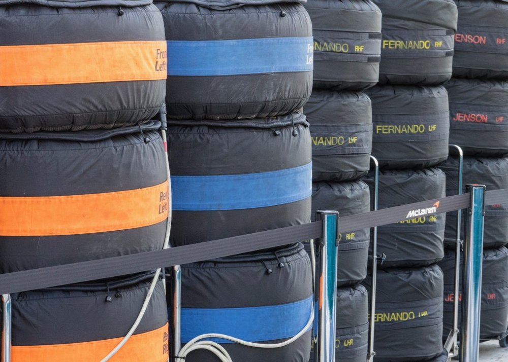 Sets of tires from the Mclaren Honda team.