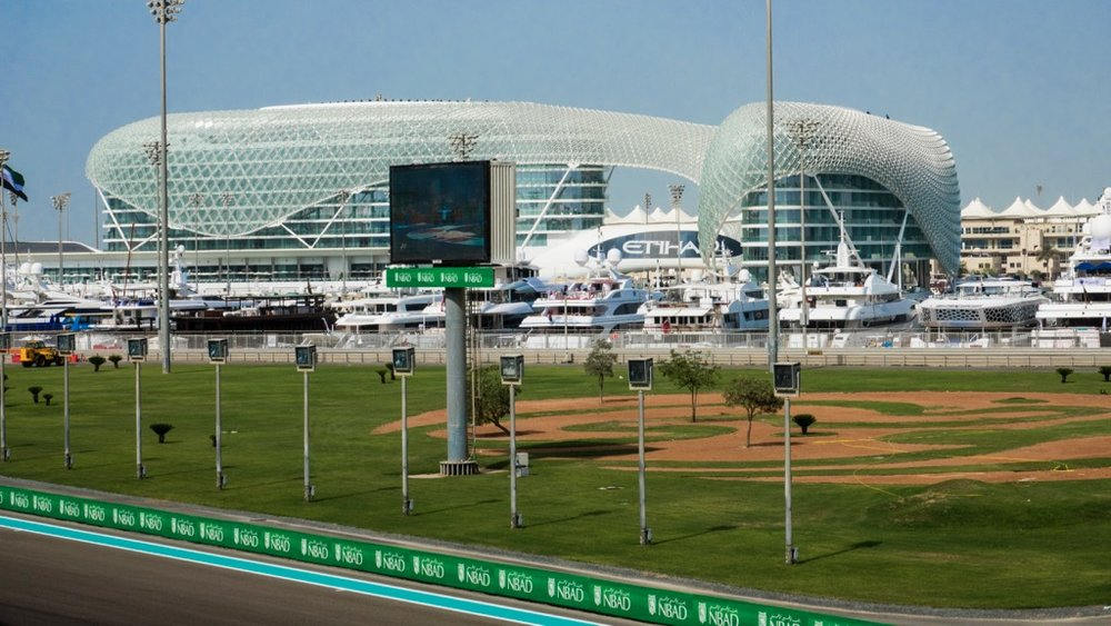 Looking out across the track and the marina, to the Yas Viceroy Hotel.