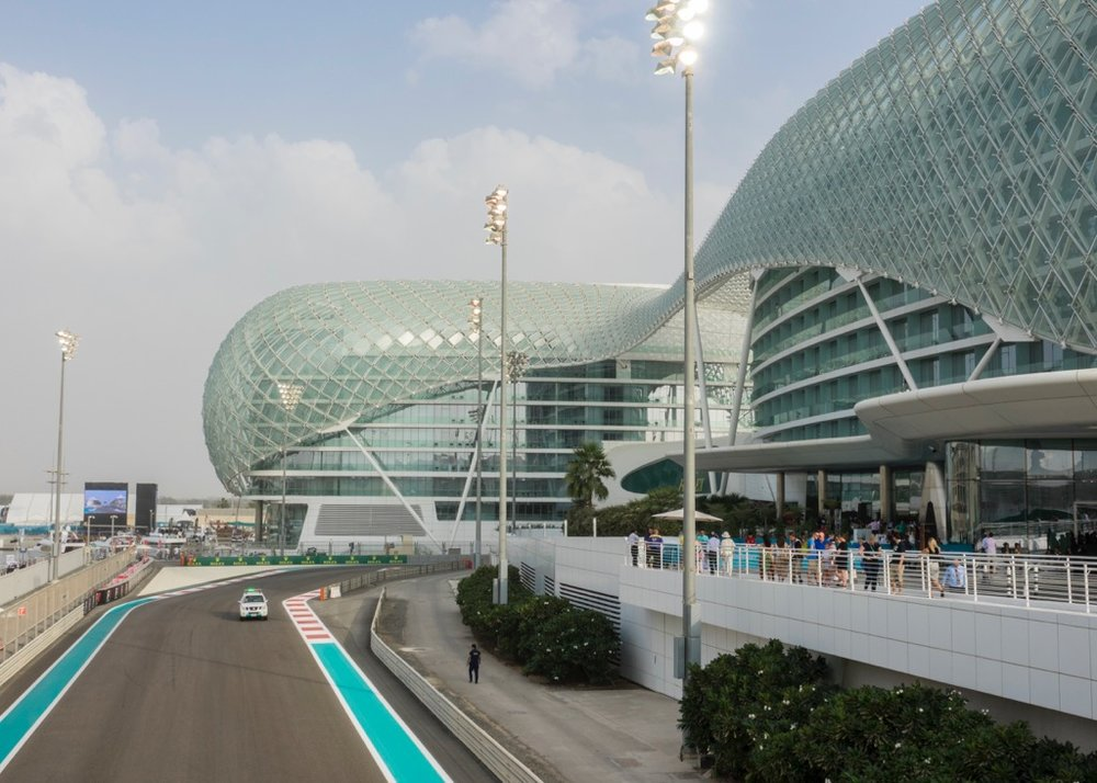 Going over the bridge over the race course, towards the lobby of the Yas Viceroy Abu Dhabi Hotel