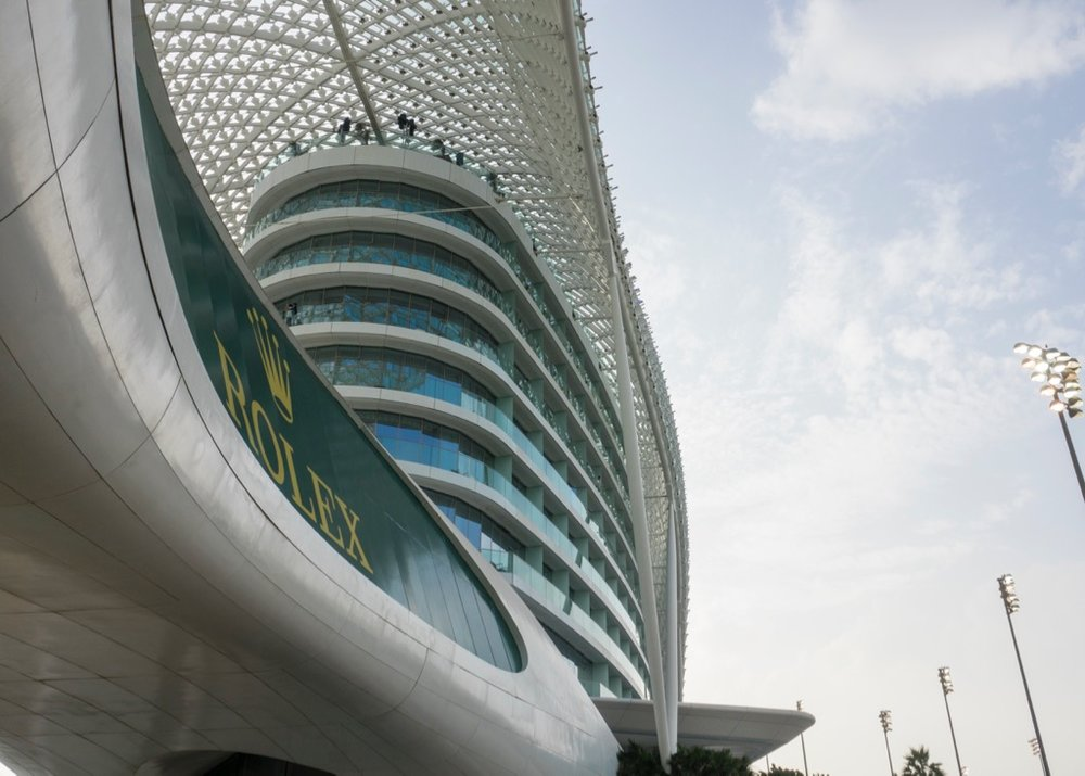 From this angle, the Yas Viceroy Abu Dhabi Hotel looks almost like a ship in the marina.