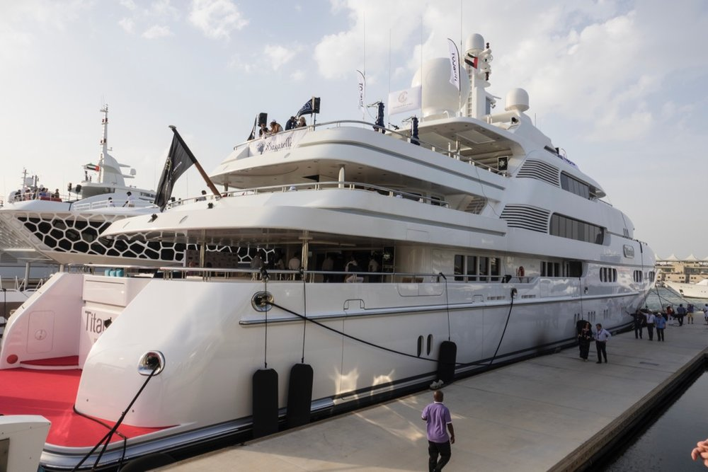 The biggest ship in the marina was rented by Hublot, the luxury watch maker. You too can rent the Titania, if you have a cool 500,000 Euros a week!